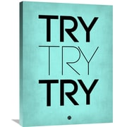 Naxart 'Try Try Try Poster' Textual Art on Wrapped Canvas in Blue; 32'' H x 24'' W x 1.5'' D