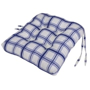 Ellis Curtain Large Scale Plaid Cushioned Chair Pad in Blue