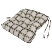 Ellis Curtain Large Scale Plaid Cushioned Chair Pad in Green