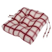 Ellis Curtain Large Scale Plaid Cushioned Chair Pad in Red