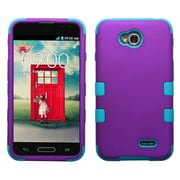 Insten Tuff Hybrid Hard Shockproof Protective Case Cover for LG Optimus L70 Exceed 2, Grape/Tropical Teal