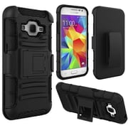 Insten Hard Hybrid Plastic Silicone Case withHolster for Samsung Galaxy Core Prime, Black