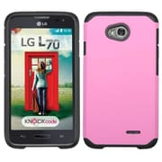 Insten Hard Hybrid Rubber Cover Case for LG Optimus Exceed 2 VS450PP Verizon/Optimus L70 MS323/Realm LS620, Pink/Black