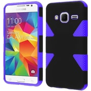 Insten Dynamic Hard Dual Layer Rubber Silicone Cover Case for Samsung Galaxy Core Prime, Black/Purple