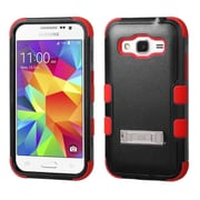 Insten Tuff Hard Hybrid Rubberized Silicone Case with Stand for Samsung Galaxy Core Prime/Prevail, Black/Red