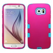 Insten Tuff Hard Dual Layer Rubber Silicone Cover Case for Samsung Galaxy S6, Hot Pink/Teal Green