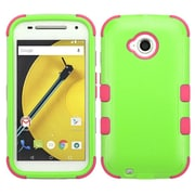 Insten Tuff Hard Dual Layer Silicone Case for Motorola Moto E (2nd Gen 2015), Green/Hot Pink