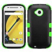 Insten Tuff Hard Dual Layer Silicone Case for Motorola Moto E (2nd Gen 2015), Black/Green