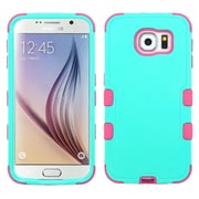 Insten Tuff Hard Hybrid Rubberized Silicone Case for Samsung Galaxy S6, Teal/Hot Pink