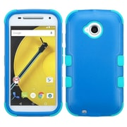 Insten Tuff Hard Hybrid Shockproof Rubber Coated Silicone Cover Case for Motorola Moto E (2nd Gen), Blue/Teal