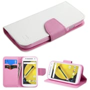Insten Flip Leather Fabric Cover Case withstand/card holder/Diamond for Motorola Moto E (2nd Gen), White/Pink
