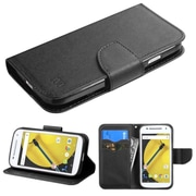 Insten Folio Leather Fabric Case withstand/card slot/Diamond for Motorola Moto E (2nd Gen), Black