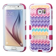 Insten Tuff Camo Wave Hard Hybrid Rubber Coated Silicone Cover Case with Stand for Samsung Galaxy S6, Purple/Hot Pink
