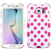 Insten Tuff Polka Dots Hard Hybrid Rubber Silicone Cover Case for Samsung Galaxy S6 Edge, Hot Pink/White