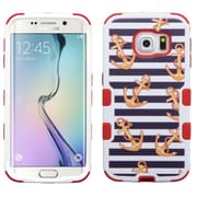 Insten Tuff Nautical Stripes Hard Dual Layer Rubber Coated Silicone Case for Samsung Galaxy S6 Edge, Blue/Red