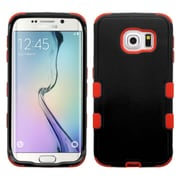 Insten Hard Hybrid Rugged Shockproof Silicone Cover Case for Samsung Galaxy S6 Edge, Black/Red