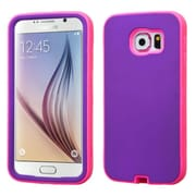 Insten Verge Hard Dual Layer Rubber Coated Silicone Cover Case for Samsung Galaxy S6, Purple/Hot Pink