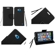 Insten Flip Leather Fabric Case Lanyard withstand/card slot for Microsoft Lumia 640, Black