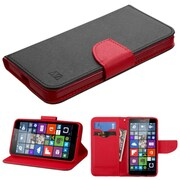 Insten Flip Leather Fabric Case withstand/card slot for Microsoft Lumia 640, Black/Red
