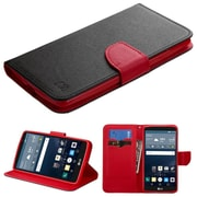 Insten Flip Leather Fabric Cover Case withstand/card slot for LG G Stylo, Black/Red