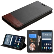 Insten Flip Leather Fabric Cover Case withstand/card slot/Photo Display for LG G Stylo, Black/Brown