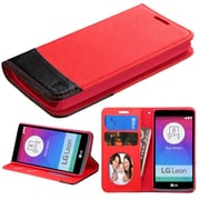 Insten Flip Leather Fabric Case withstand/card slot/Photo Display for LG Leon, Red/Black