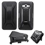 Insten Hard Dual Layer Plastic Silicone Cover Case withHolster for Samsung Galaxy Grand Prime, Black