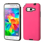 Insten Hard Hybrid Rubber Coated Silicone Cover Case for Samsung Galaxy Grand Prime, Hot Pink/Black