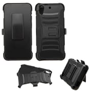 Insten Hard Hybrid Plastic Silicone Cover Case withHolster for HTC Desire 626, Black