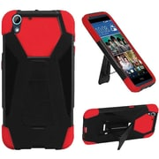 Insten Hard Dual Layer Plastic Silicone Cover Case withstand for HTC Desire 626, Black/Red