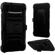 Insten Hard Dual Layer Plastic Silicone Case withHolster for HTC Desire 626/626s, Black