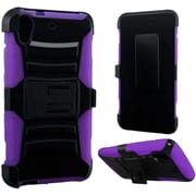 Insten Hard Dual Layer Plastic Silicone Cover Case withHolster for HTC Desire 626/626s, Black/Purple