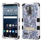 Insten Tuff European Flowers Hard Hybrid Rubber Coated Silicone Case with Stand for LG G Stylo, Purple/White
