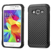 Insten Hard Hybrid Rubber Coated Silicone Case for Samsung Galaxy Core Prime, Black