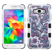 Insten European Flowers Hard Hybrid Rubberized Silicone Cover Case for Samsung Galaxy Grand Prime, Purple/White