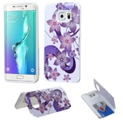 Insten Hibiscus Flower Romance Hard Rubber Coated Cover Case for Samsung Galaxy S6 Edge Plus, Purple/White