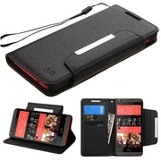 Insten Book-Style Leather Fabric Cover Case Lanyard withstand/card slot for HTC Desire 626/626s, Black