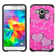 Insten Butterfly Hard Hybrid Shockproof Rubber Silicone Case for Samsung Galaxy Grand Prime, Hot Pink/Black