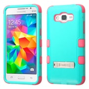 Insten Hard Hybrid Rubberized Silicone Case withstand for Samsung Galaxy Grand Prime, Teal/Hot Pink