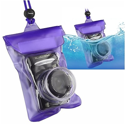 Insten Digital Camera Underwater Waterproof Case Dry Purple 4.5 x 5.9 Bag with Rope