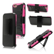 Insten Rugged Impact Hybrid Hard Shockproof Protective Case Belt Clip Holster for iPhone 6S 6 6th, Black/Pink