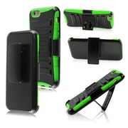 Insten Impact Hybrid Hard Shockproof Protective Case Belt Clip Holster for iPhone 6S 6 6th, Black/Neon Green