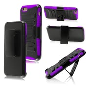 Insten Impact Hybrid Rugged Hard Shockproof Protective Case Belt Clip Holster for iPhone 6S 6, Black/Purple