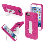 Insten Diamond Rinestones Bling Symbiosis Stand Hybrid Hard Case Cover for iPhone 6S 6, White/Hot Pink