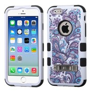 """Insten Tuff European Flowers Hard Hybrid Rubberized Silicone Cover Case with Stand for iPhone 6S 6 4.7"""", Purple/Black"""