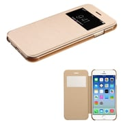 Insten Folio Leather Fabric Case for Apple iPhone 6, Gold