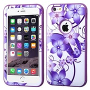 Insten Verge Hibiscus Flower Hard Hybrid Cover Case for Apple iPhone 6 Plus, Purple/White