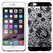 Insten Four-leaf Clover Rubber Cover Case for Apple iPhone 6 Plus, Black/Clear