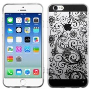 Insten Four-leaf Clover Rubber Cover Case for Apple iPhone 6, Black/Clear