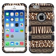 Insten Zebra Hard Dual Layer Rubber Coated Silicone Case for Apple iPhone 6, Brown/Black